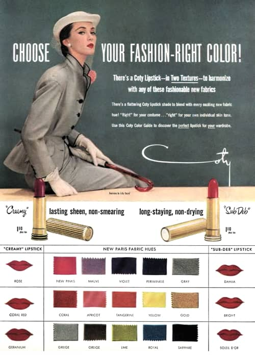 1950-59 1951 Coty Sub Deb Fall Lipstick Colors Vintage Cosmetic Ad
